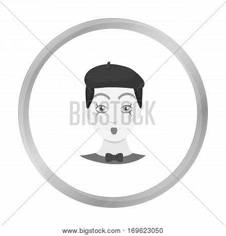 Mime artist icon in monochrome style isolated on white background. Event service symbol vector illustration.