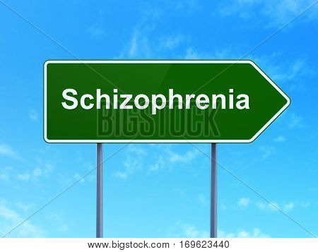 Medicine concept: Schizophrenia on green road highway sign, clear blue sky background, 3D rendering