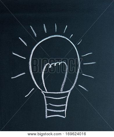 Light bulb drawn on a black school board