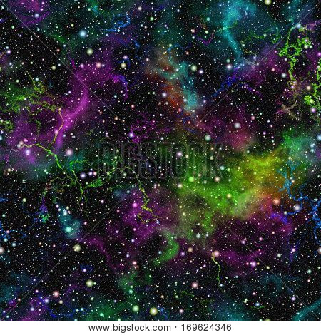 Abstract bright colorful universe Nebula night starry sky Multicolor shiny outer space Glittering galactic texture background Seamless illustration