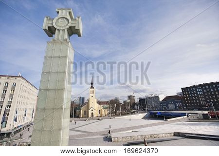 Freedom monument with St. John's Church at freedom square; Tallinn; Estonia; Europe