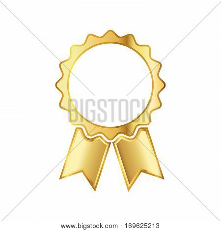 Golden medal icon with ribbon. Abstract golden medal isolated on white background. Silhouette of trophy awards or medal. Vector illustration.