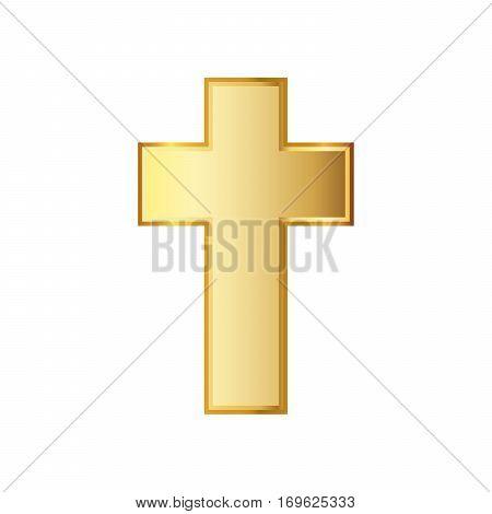 Golden Christian cross icon. Vector illustration. Golden Christian cross isolated on white background.