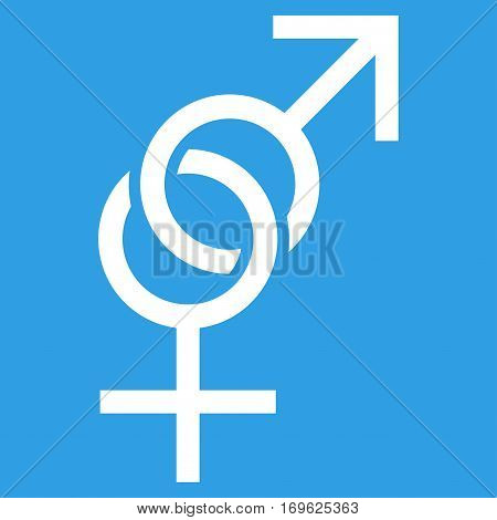 Sex Symbol flat icon. Vector white symbol. Pictograph is isolated on a blue background. Trendy flat style illustration for web site design logo ads apps user interface.