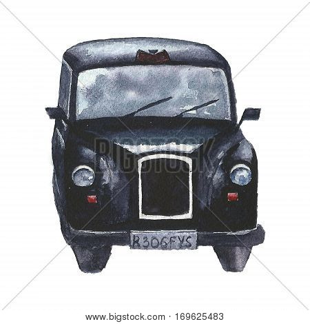 Watercolor retro card with London cab. Hand drawn vintage illustration with England car isolated on white backround.