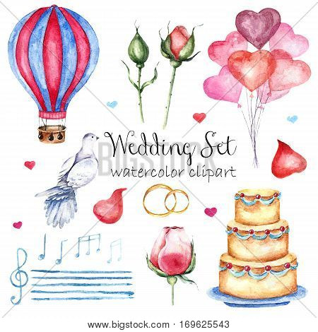 Watercolor modern elegant wedding style set. Various objects: roses petals naked cake air balloons dove stave notes treble clef and wedding rings. Hand painted design set.