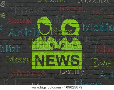 News concept: Painted green Anchorman icon on Black Brick wall background with  Tag Cloud