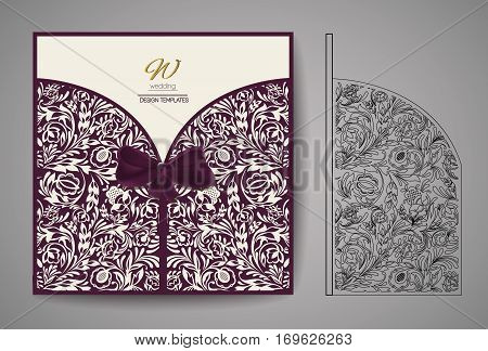 Laser Cut Invitation Card. Laser cutting pattern for invitation wedding card.