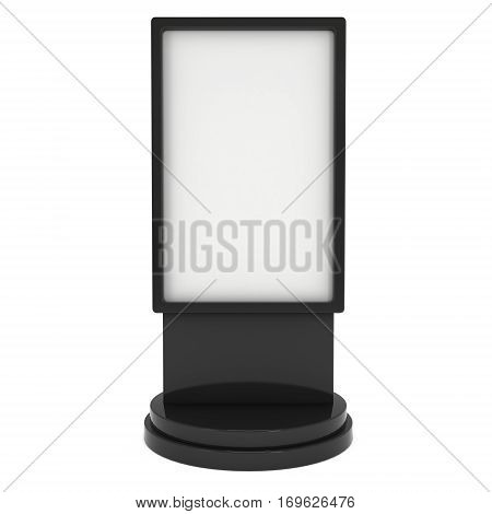 LCD Screen Stand. Black Trade Show Booth. 3d render of lcd screen isolated on white background. High Resolution. Ad template for your expo design.