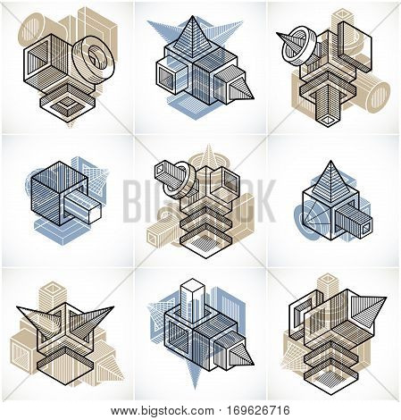 Abstract geometric three-dimensional vector design shapes set