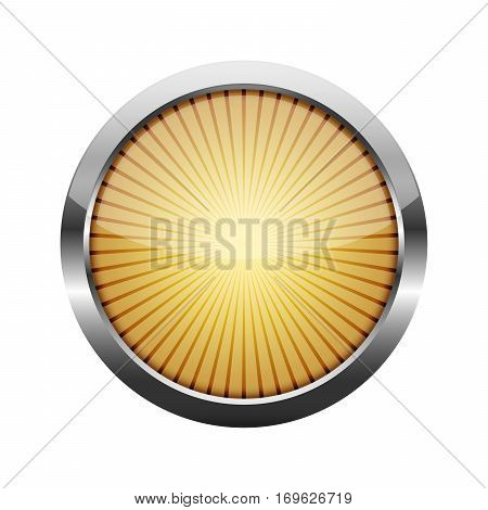 Yellow round button with a metal frame. Vector illustration. Round button with rays inside isolated on white background.