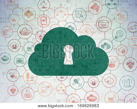 Cloud networking concept: Painted green Cloud With Keyhole icon on Digital Data Paper background with Scheme Of Hand Drawn Cloud Technology Icons