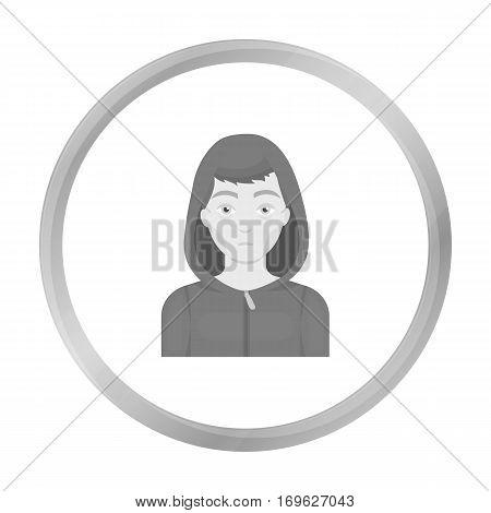 Drug addict man icon in monochrome style isolated on white background. Drugs symbol vector illustration.