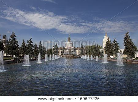 Fountain at the Exhibition of Achievements of the People's Economy (VDNKh) in empire style in Moscow Russia