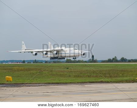 Kiev Region Ukraine - September 25 2008: Antonov An-225 Mriya cargo plane landing after a flight