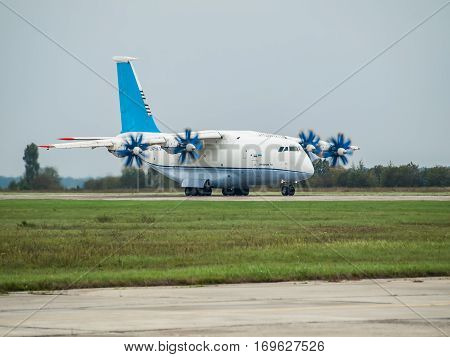 Kiev Region Ukraine - September 25 2008: Antonov An-70 turboprop cargo plane takeoff