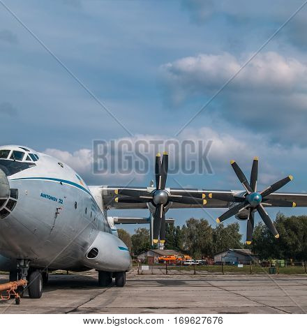 Kiev Region Ukraine - September 25 2008: Antonov An-22 turboprop cargo plane parked on the airfield