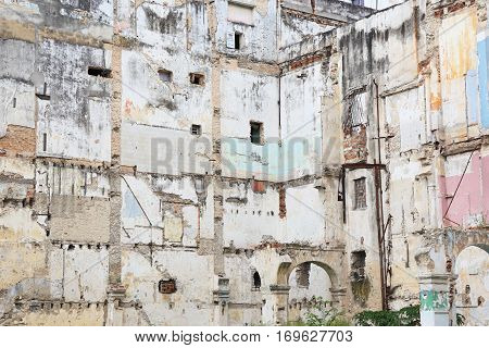 Walls of partially dismantled building in Havana