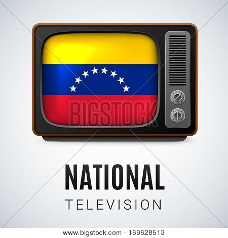 Vintage TV and Flag of Venezuela as Symbol National Television. Tele Receiver with Venezuelan flag