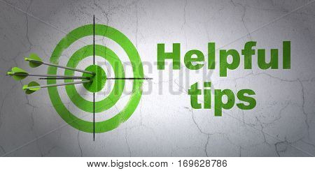 Success Learning concept: arrows hitting the center of target, Green Helpful Tips on wall background, 3D rendering