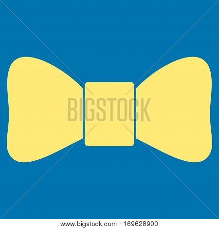 Bow Tie flat icon. Vector yellow symbol. Pictogram is isolated on a blue background. Trendy flat style illustration for web site design logo ads apps user interface.