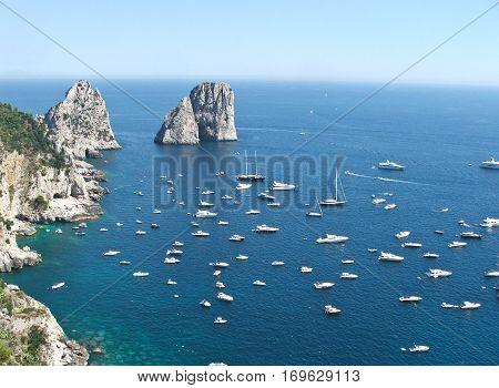 view of the island of capri its splendid sea and stacks
