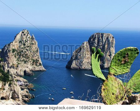 beautiful view of the cliffs of Capri from a scenic location