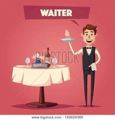 Reserved table in restaurant. Cartoon vector illustration. Dinner date. Waiter in cafe. Food and drink theme. Romantic evening.