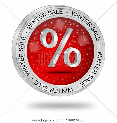 glossy red Winter Sale Button - 3D illustration