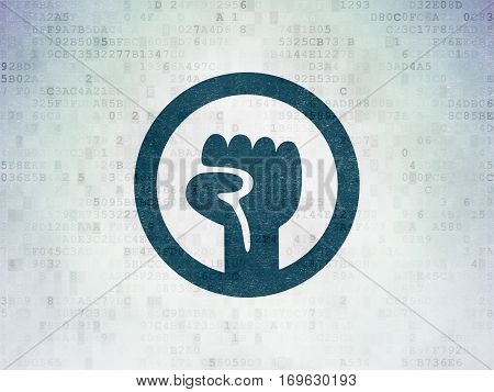 Political concept: Painted blue Uprising icon on Digital Data Paper background