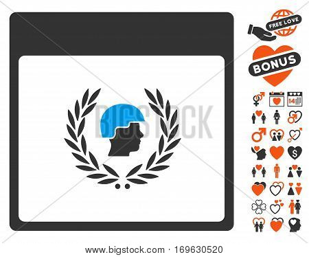 Soldier Laurel Wreath Calendar Page pictograph with bonus decoration pictograms. Vector illustration style is flat iconic symbols for web design app user interfaces.