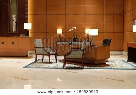 SHANGHAI - FEBRUARY 27: Lobby of the Hotel in Shanghai, China, February 27, 2016.