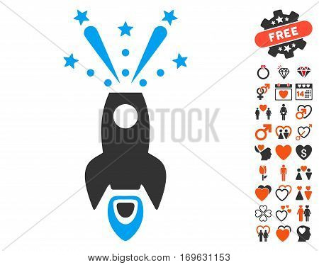 Space Rocket Boom icon with bonus dating pictograph collection. Vector illustration style is flat iconic symbols for web design app user interfaces.