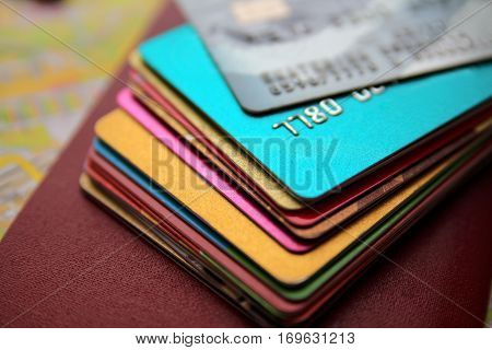 credit cards close up view with selective focus