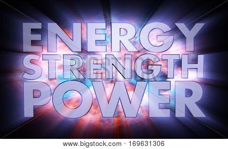 Energy Strength Power Words Light Effects 3d Illustration