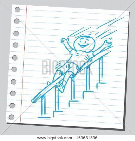 Boy sliding down the banister