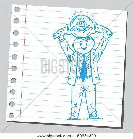 Businessman holding boxing belt