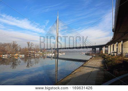 Pylon With Cables at New Ada Bridge in Belgrade