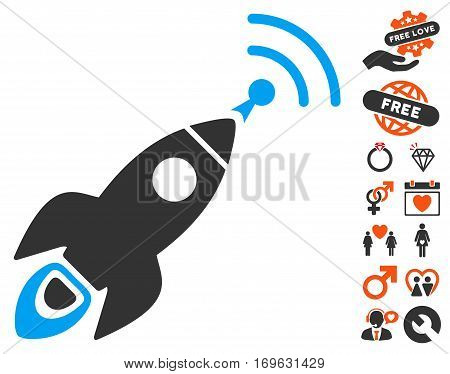 Space Rocket Radio Translation icon with bonus love pictures. Vector illustration style is flat iconic elements for web design app user interfaces.