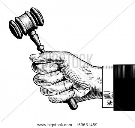 Hand holding judges gavel. Vintage engraving stylized drawing.  Vector illustration