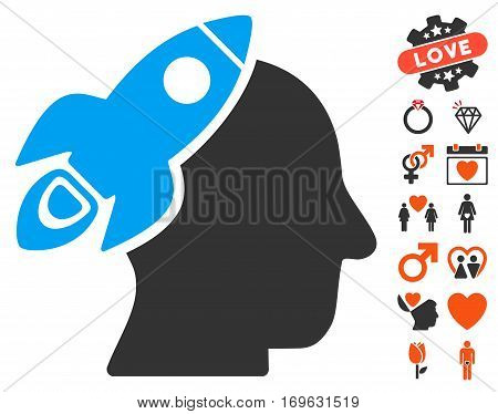 Space Rocket Thinking Head icon with bonus dating symbols. Vector illustration style is flat iconic elements for web design app user interfaces.
