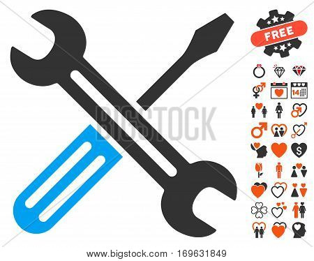 Spanner And Screwdriver pictograph with bonus decoration pictures. Vector illustration style is flat iconic elements for web design app user interfaces.