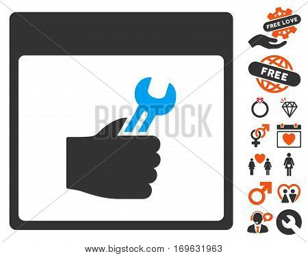 Spanner Service Hand Calendar Page pictograph with bonus decorative graphic icons. Vector illustration style is flat iconic elements for web design app user interfaces.