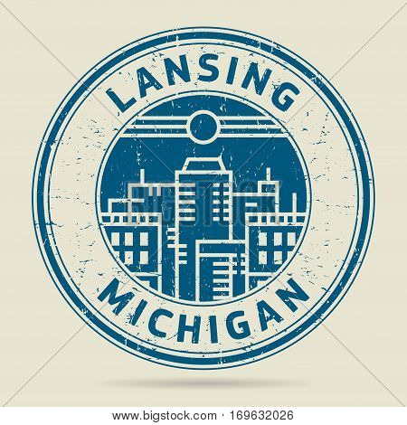 Grunge rubber stamp or label with text Lansing Michigan written inside vector illustration