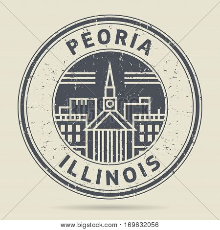 Grunge rubber stamp or label with text Peoria Illinois written inside vector illustration