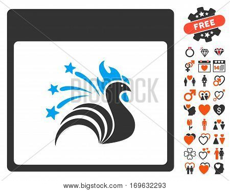Sparkle Rooster Calendar Page icon with bonus marriage images. Vector illustration style is flat iconic symbols for web design app user interfaces.