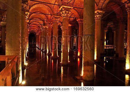 ISTANBUL TURKEY - APRIL 01 2013: Underground basilica cistern. Byzantine water reservoir build by Emperor Justinianus, Turkey, Istanbul