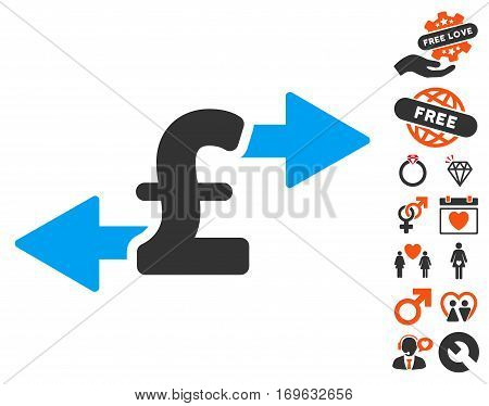 Spend Pound Money pictograph with bonus dating icon set. Vector illustration style is flat iconic elements for web design app user interfaces.