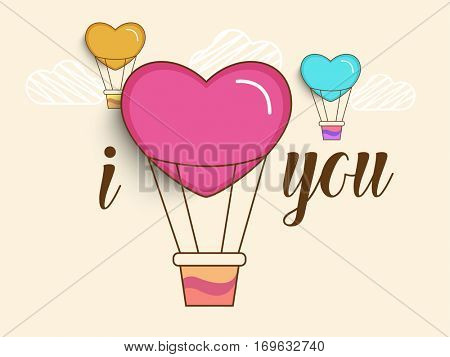 Stylish Text I Love You with creative Hot Air Balloons for Happy Valentine's Day Celebration.