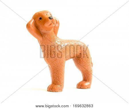 GOMEL, BELARUS - September 10, 2014: Miniature toy dog, made in Soviet times. Soviet Union was a socialist state on the Eurasian continent that existed between 1922 and 1991.
